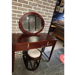 桃花芯木新中式实木梳妆台妆凳(自提免运费)