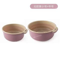 双层塑料沥水篮洗菜盆洗菜篮厨房家用客厅果篮洗水果菜篮子水果盘颜色随机