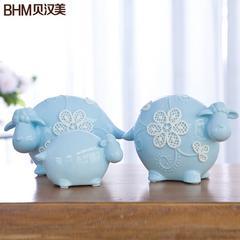 创意现代简欧摆件客厅酒柜装饰摆设陶瓷萌羊一家亲摆设结婚礼物