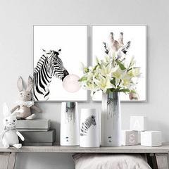 贝汉美陶瓷三件套花瓶家居饰品斑马装饰摆设样板房装饰客厅电视