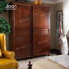 1800*639*2200简欧家具名仕简美系列深色实木趟门衣柜