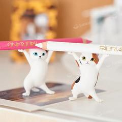 抖音妖娆猫创意笔架ins可爱喵咪盲盒摆件迷你日系笔托手办礼物