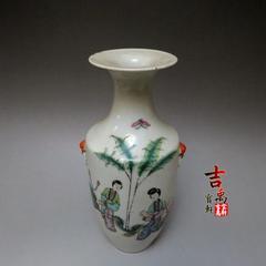 清代粉彩瓶 仕女图 口沿磕碰老修补 古玩杂项 古董瓷器