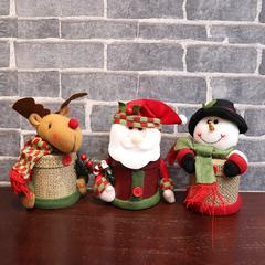 圣诞装亚麻苹果盒圣诞节糖果盒圣诞老人鹿雪人圣诞用品惊喜礼物盒