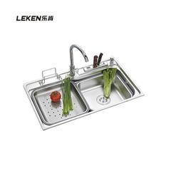 乐肯食品级 花岗岩厨房水池洗菜盆 石英石水槽单槽洗碗池厨盆套餐LK8149