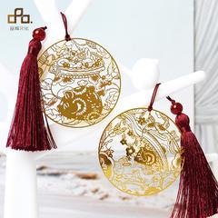 猪年限定礼品创意古典中国风流苏镂空金属铜镀18K金精美超薄书签