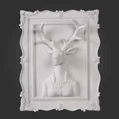 贝汉美(BHM) 创意北欧动物墙饰挂饰壁饰装饰品树脂工艺品客厅餐厅墙饰乔迁礼物鹿壁挂 淑女鹿(单框)