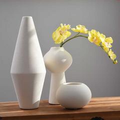 恒瓷美 新品 白色陶瓷花瓶摆件 现代简约创意客厅家居软装饰品插