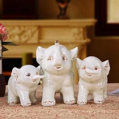 贝汉美 景德镇创意陶瓷摆件三口之家大象客厅电视柜红酒柜书房儿