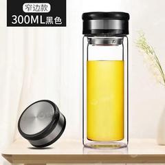 双层玻璃杯男士家用水杯高档便携透明带盖茶水分离泡茶杯子女
