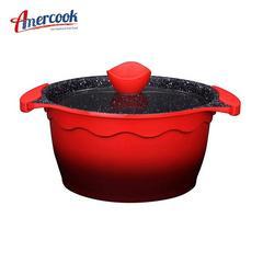 美国Amercook 麦饭石汤锅不粘锅无油烟煲汤炖锅煮面条燃气电磁炉通用 汤锅24cm红色