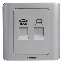 西门子(SIEMENS)开关插座 远景系列 电话+电脑插座面板(银色)