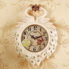 丽盛孔雀小号挂钟家用现代钟表创意迷你座钟装饰静音两用石英时钟