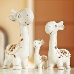 贝汉美创意家居饰品摆件酒柜客厅书房陶瓷工艺品装饰三口鹿摆设