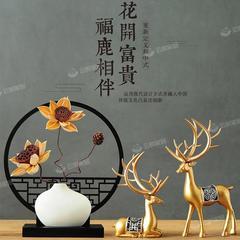 鹿摆件花瓶装饰品中式家居陶瓷摆设客厅电视柜创意办公室工艺礼品