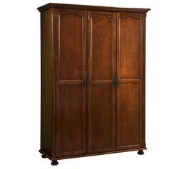 H-12G3简欧家具板木结合简美深色三门衣柜