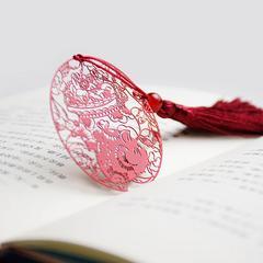 猪年限定精美礼品创意古典中国风玛瑙珠流苏镂空金属黄铜超薄书签