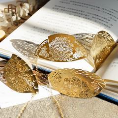 原创古典中国风精致小礼品创意团花饺子系列优质金属黄铜镀金书签
