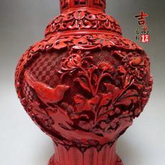 日本回流 古董 铜胎漆器 瓶 器型周正优美 剔红 剔犀 古玩杂项 秒