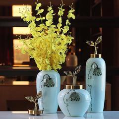 新中式莲蓬陶瓷三件套花瓶花艺 创意客厅电视柜装饰品摆件