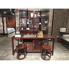 桃花心木书柜书台茶台茶凳三件套新中式高端实木办公家具(自提免运费)