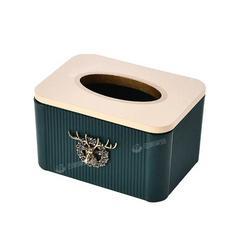 北欧轻奢风纸巾盒高档现代简约客厅家用茶几收纳盒家用餐巾抽纸盒 北欧纸巾盒【麋鹿祖母绿】