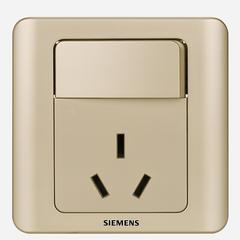 西门子(SIEMENS)开关插座 远景系列 16A三孔带开关面板 空调热水器插座 (金棕色)