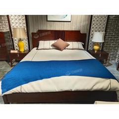新中式实木床床头柜双人现代简约轻奢桃花心木(自提免运费)