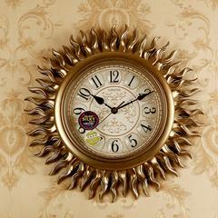 太阳欧式复古钟表现代创意挂钟个性家用时钟潮流客厅表静音石英钟