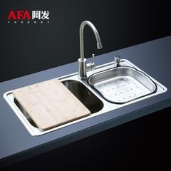 8500套餐 阿发水槽(水槽8043+1004+龙头1004)厨房洗菜盆加厚304不锈钢水槽双槽套餐