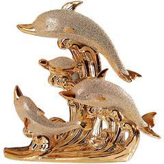 贝汉美家居现代婚庆装饰情侣酒柜摆件新家摆设陶瓷镀金海豚湾之恋