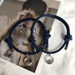 海誓山盟相吸情侣手链一对男女学生编织手绳情侣款纪念生日礼物
