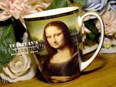 波兰产英国carmani艺术家款达芬奇蒙娜丽莎的微笑印花优质骨瓷咖啡杯马克杯