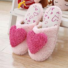 暖冬必备 新款韩国秋冬季男女款爱心可爱家居家室内地板防滑毛绒棉拖鞋冬季女款