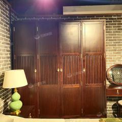(超级秒杀)桃花心木 新中式全实木大衣柜 四门衣柜卧室家具全原木(自提免运费)
