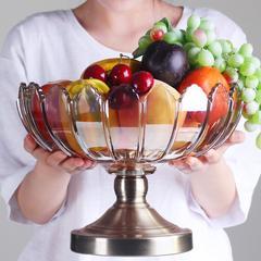 欧式现代简约水晶玻璃水果盘摆件餐厅装饰品家居客厅茶几果盘