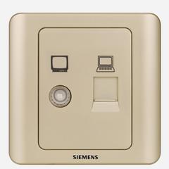 西门子(SIEMENS)开关插座 远景系列 电视+电脑插座面板 (金棕色)