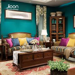 H897简欧家具1+2+3皮布结合简美沙发