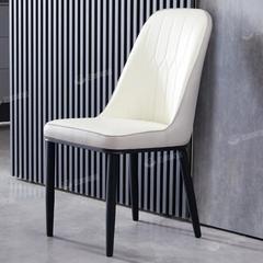 简约家用椅子现代北欧铁艺白色休闲化妆椅金属轻奢皮革靠背餐椅子