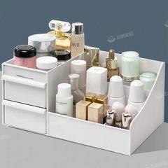 化妆品收纳盒大号梳妆台桌面抽屉首饰品储物塑料整理分类学生寝室 大号升级款-北欧粉