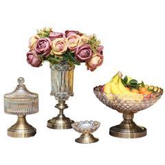 贝汉美 现代欧式家居装饰品水晶玻璃果盘花瓶烟灰缸客厅茶几摆件