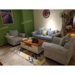 布艺绒面高档舒适沙发简约茶几组合套装(自提免运费)
