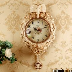 丽盛欧式大象挂钟现代静音摇摆钟表创意田园家用客厅装饰壁钟卧室时钟