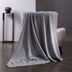 HUGO BOSS LOGO混纺棉毯(灰)130*180cm HBMT-016