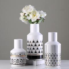 贝汉美(BHM) 陶瓷花瓶摆件 家居客厅电视柜餐桌装饰品摆设 手工彩绘大小插花摆件工艺品