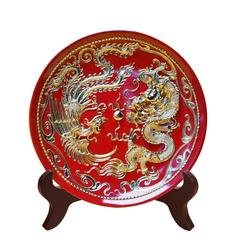 漆线雕(厦门)龙凤呈祥 陶瓷器工艺品摆件(圆形)  纯手工制作
