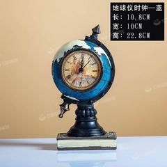 欧式复古地球仪摆钟家居客厅电视柜玄关座钟表办公室装饰品摆件