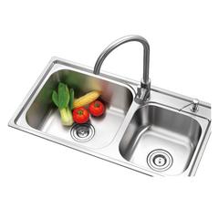 乐肯厨房不锈钢双槽水槽套餐一体厚台上下洗菜盆洗碗水池水盆LK7641